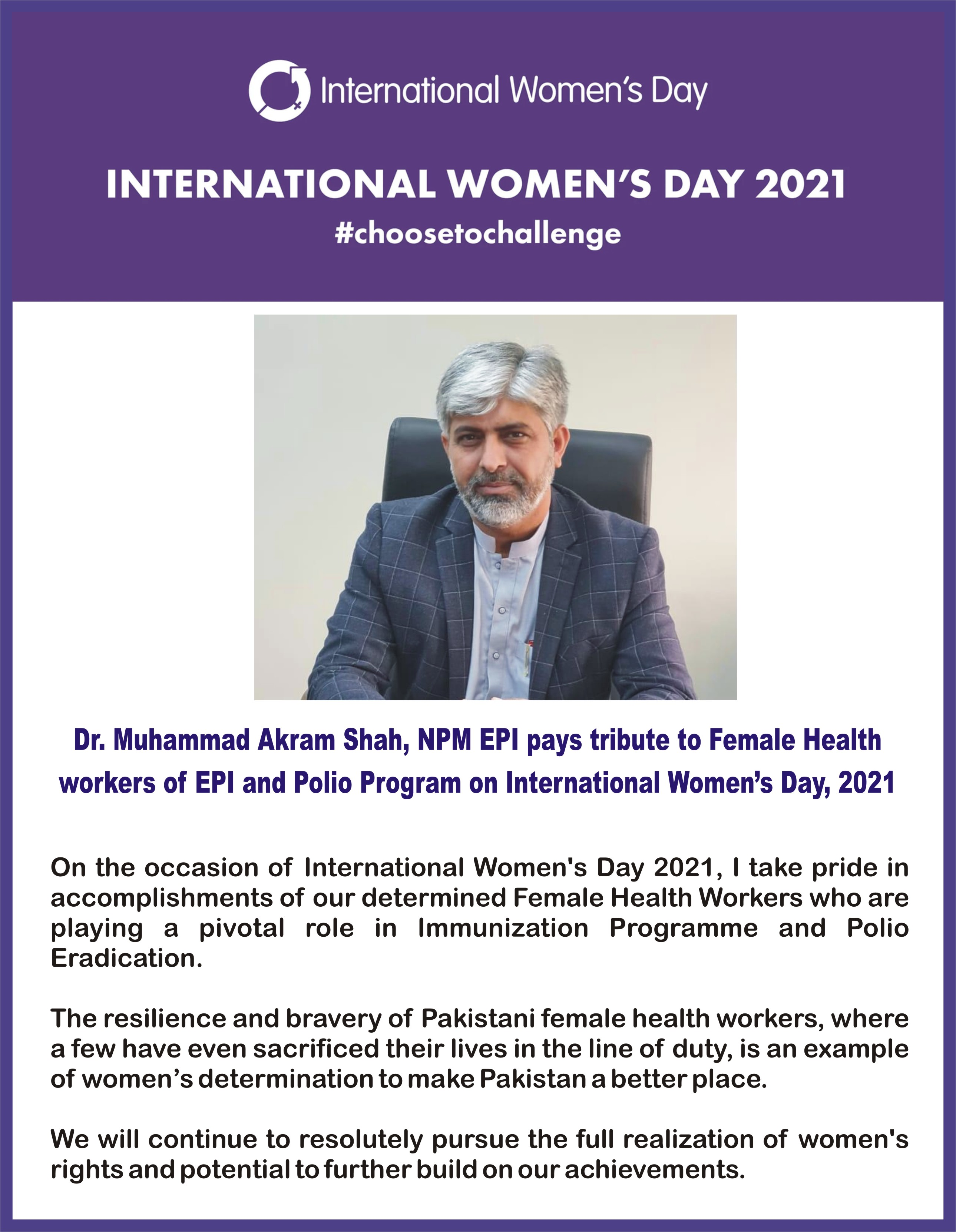 Dr. Muhammad Akram Shah, NPM EPI paid tribute to female health workers on International Women's Day, 8th March 2021